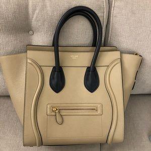Celine Mini Luggage dune tan/beige & navy bi-color